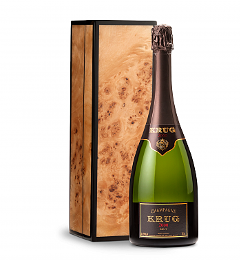 Wine Gift Boxes: Krug Vintage Brut Champagne 2000 with Handcrafted Burlwood Box