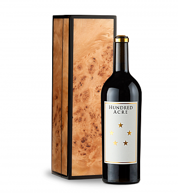 Wine Gift Boxes: Hundred Acre Few And Far Between Cabernet Sauvignon 2013 in Handcrafted Burlwood Box