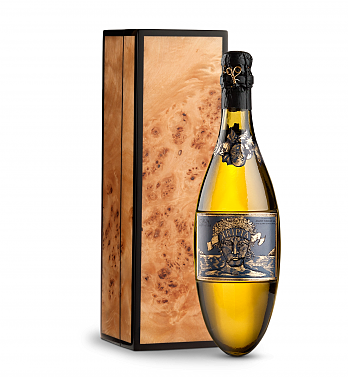 Wine Gift Boxes: Kripta Brut Nature Cava Gran Reserva 2008 in Handcrafted Burlwood Box