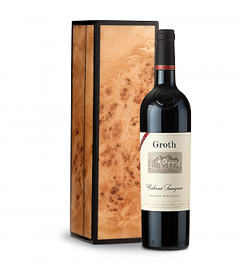 Wine Gift Boxes: Groth Reserve Cabernet Sauvignon 2014 in Handcrafted Burlwood Box
