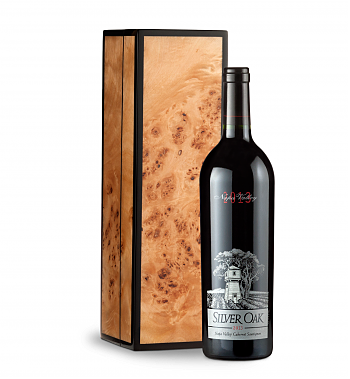 Wine Gift Boxes: Silver Oak Napa Valley Cabernet Sauvignon 2013 in Handcrafted Burlwood Box