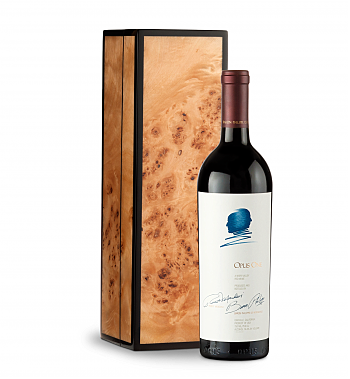 Wine Gift Boxes: Opus One 2015 in Handcrafted Burlwood Box