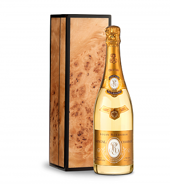 Wine Gift Boxes: Louis Roederer Cristal Brut 2005 in Handcrafted Burlwood Box