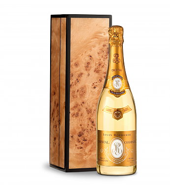 Wine Gift Boxes: Louis Roederer Cristal Brut 2008 with Handcrafted Burlwood Box