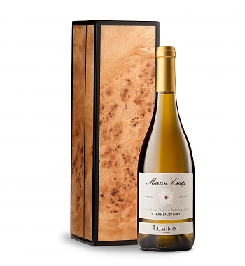 Wine Gift Boxes: Martin Craig Luminist Russian River Chardonnay in Handcrafted Burlwood Box