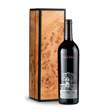 Wine Gift Boxes: Silver Oak Napa Valley 2015 Cabernet Sauvignon in Handcrafted Burlwood Box
