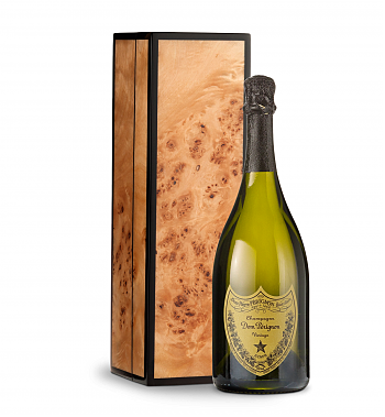 Wine Gift Boxes: Dom Perignon 2010 in Handcrafted Burlwood Box