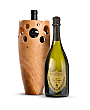 Premium Wine Baskets: Handmade Wooden Wine Vase with Dom Perignon 2006