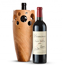 Premium Wine Baskets: Handmade Wooden Wine Vase with Dominus Estate 2006