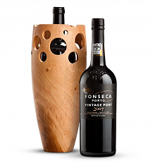 Premium Wine Baskets: Handmade Wooden Wine Vase with Fonseca Vintage Port 2007