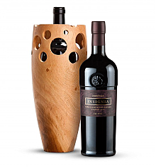 Premium Wine Baskets: Handmade Wooden Wine Vase with Joseph Phelps Insignia Red 2008