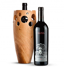 Premium Wine Baskets: Handmade Wooden Wine Vase with Silver Oak Napa Valley Cabernet Sauvignon 2008