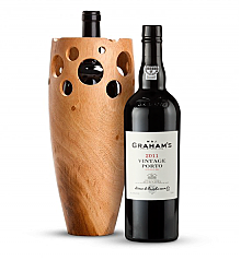 Premium Wine Baskets: Handmade Wooden Vase with Graham's Vintage Port 2011