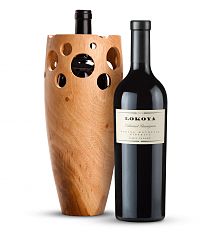 Premium Wine Baskets: Handmade Wooden Wine Vase with Lokoya Mt. Veeder Cabernet Sauvignon 2006