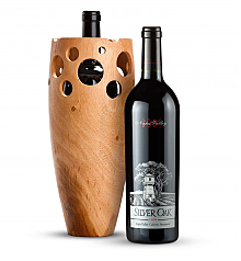 Premium Wine Baskets: Handmade Wooden Wine Vase with Silver Oak Napa Valley Cabernet Sauvignon 2009