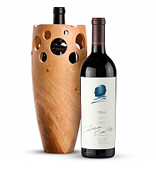 Premium Wine Baskets: Handmade Wooden Wine Vase with Opus One 2011