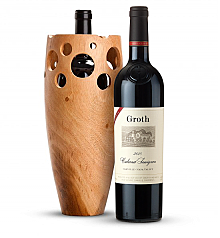 Premium Wine Baskets: Handmade Wooden Wine Vase with Groth Reserve Cabernet Sauvignon 2010