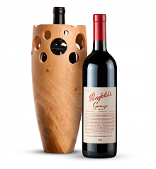 Premium Wine Baskets: Handmade Wooden Wine Vase with Penfolds Grange 2010