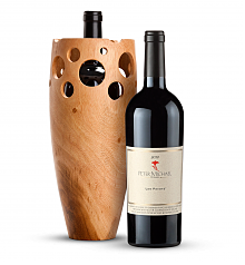 Wine Accessories & Decanters: Peter Michael Les Pavots 2012 with Handmade Wooden Wine Vase