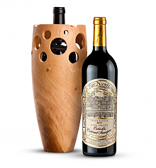 Wine Accessories & Decanters: Far Niente Estate Bottled Cabernet Sauvignon 2013 with Handmade Wooden Wine Vase