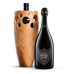 Premium Wine Baskets: Handmade Wooden Wine Vase with Dom Perignon P2 Plenitude 1998