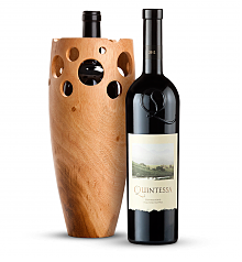 Premium Wine Baskets: Handmade Wooden Wine Vase with Quintessa Meritage Red 2012