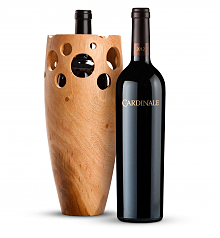 Wine Accessories & Decanters: Cardinale Cabernet Sauvignon 2012 with Handmade Wooden Wine Vase