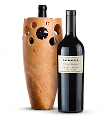 Wine Accessories & Decanters: Lokoya Mt. Veeder Cabernet Sauvignon 2009 with Handmade Wooden Wine Vase