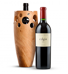 Wine Accessories & Decanters: Colgin Cellars Cariad Red Blend 2012 with Handmade Wooden Wine Vase