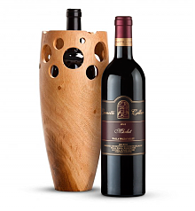 Wine Accessories & Decanters: Leonetti Reserve Merlot 2008 with Handmade Wooden Wine Vase