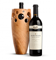 Wine Accessories & Decanters: Beringer Private Reserve Cabernet Sauvignon 2012 with Handmade Wooden Wine Vase