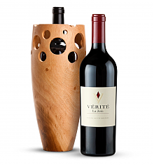 Wine Accessories & Decanters: Verite La Joie Cabernet Sauvignon 2012 with Handmade Wooden Wine Vase
