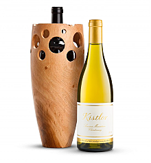 Wine Accessories & Decanters: Kistler Vineyard Sonoma Mountain Chardonnay 2014 with Handmade Wooden Wine Vase