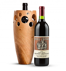 Wine Accessories & Decanters: Heitz Cellars Napa Valley Cabernet 2010 with Handmade Wooden Wine Vase
