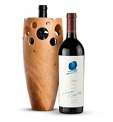 Wine Accessories & Decanters: Opus One 2014 with Handmade Wooden Wine Vase