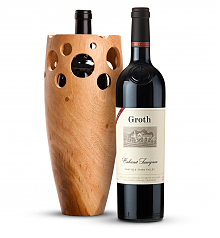 Wine Accessories & Decanters: Groth Reserve Cabernet Sauvignon 2014 with Handmade Wooden Wine Vase