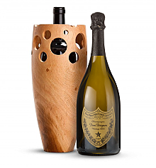 Premium Wine Baskets: Handmade Wooden Wine Vase with Dom Perignon 2003