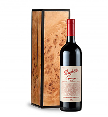 Wine Gift Boxes: Penfolds Grange 2007 in Handcrafted Burlwood Box