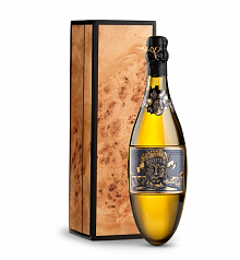 Wine Gift Boxes: Kripta Brut Nature Cava Gran Reserva 2007 in Handcrafted Burlwood Box