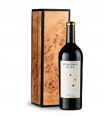 Wine Gift Boxes: Hundred Acre Few And Far Between 2010 Cabernet Sauvignon in Handcrafted Burlwood Box