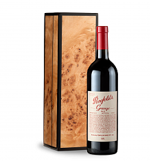 Wine Gift Boxes: Penfolds Grange 2010 in Handcrafted Burlwood Box