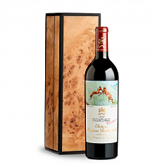 Wine Gift Boxes: Handcrafted Burlwood Box with Chateau Mouton Rothschild 2012