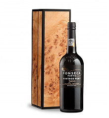 Wine Gift Boxes: Fonseca Vintage Port 2000 in Handcrafted Burlwood Box